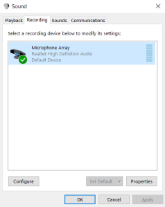 Set your headset to be DEFAULT microphone/input